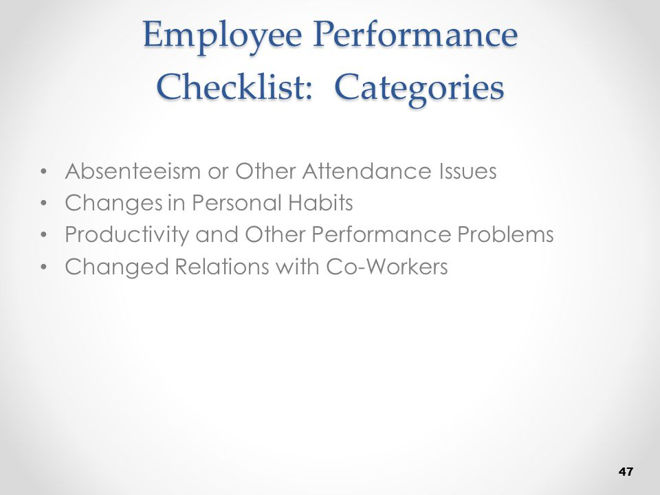 Employee Performance Checklist: Categories