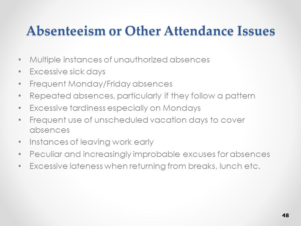 Absenteeism or Other Attendance Issues