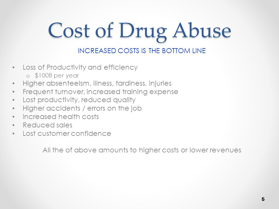 Cost of Drug Abuse INCREASED COSTS IS THE BOTTOM LINE