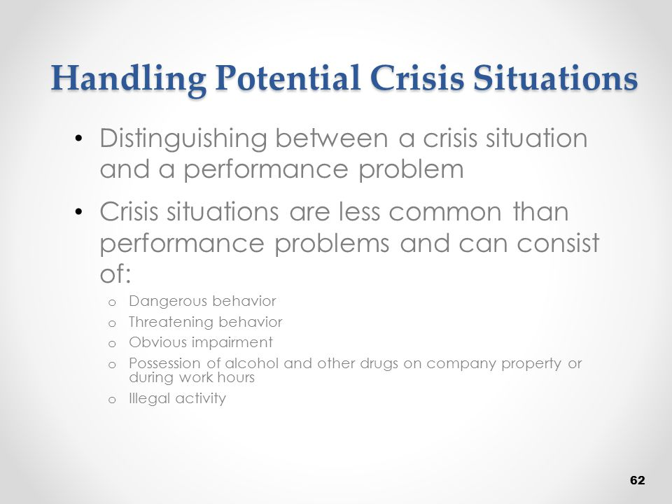 Handling Potential Crisis Situations