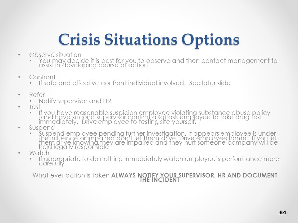 Crisis Situations Options