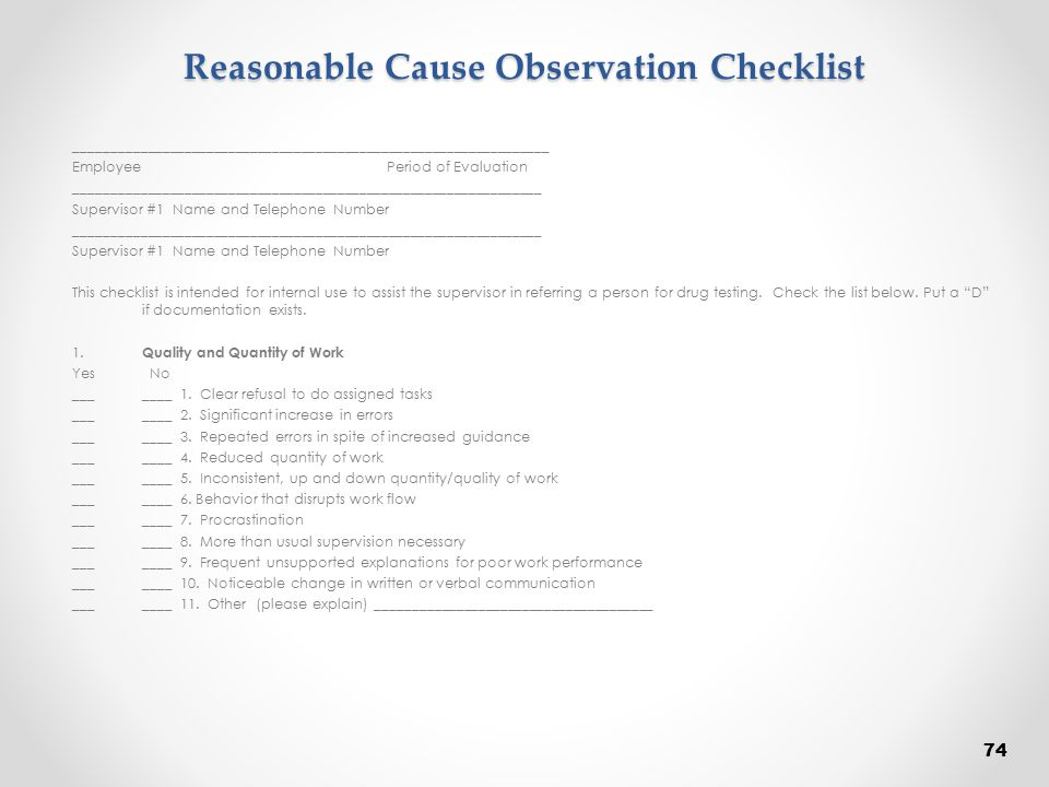 Reasonable Cause Observation Checklist
