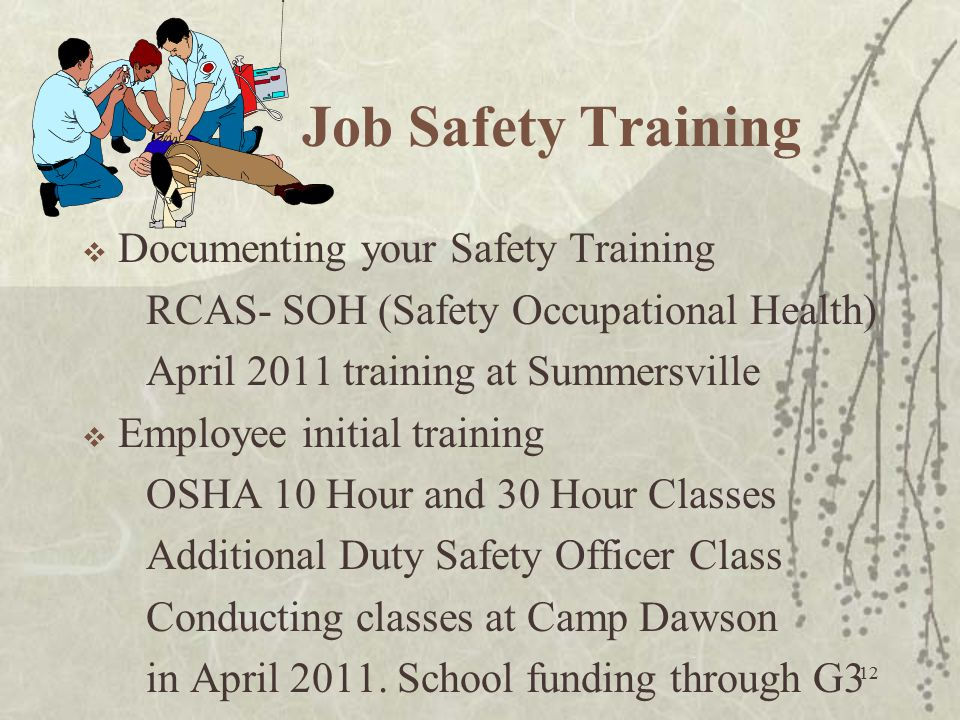 Job Safety Training Documenting your Safety Training