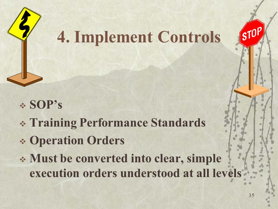 4. Implement Controls SOP's Training Performance Standards