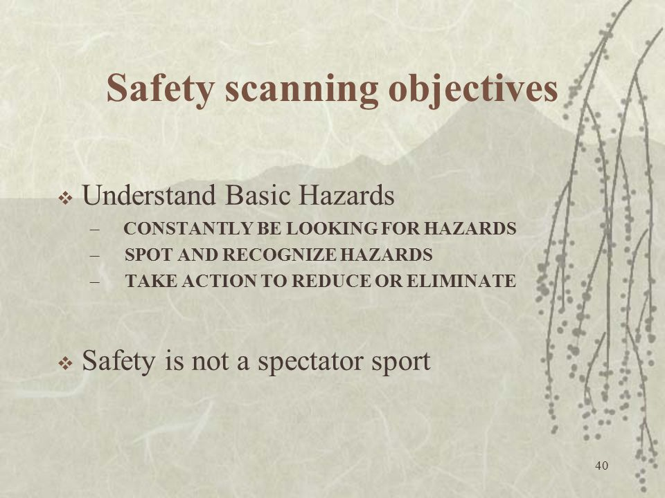 Safety scanning objectives