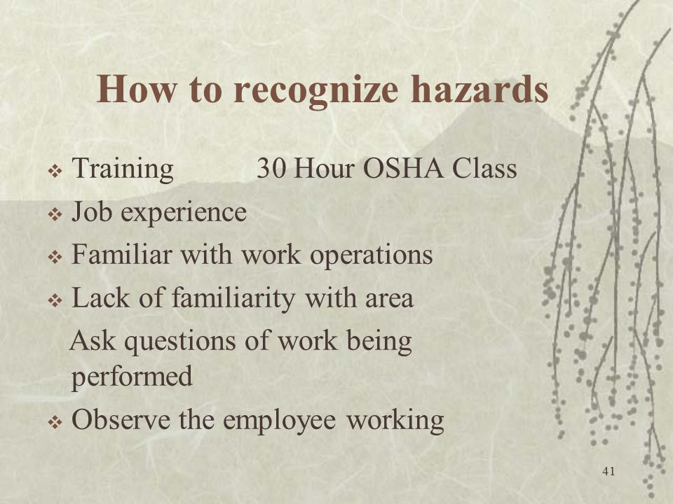 How to recognize hazards