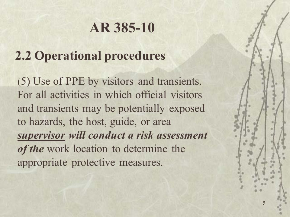AR 385-10 2.2 Operational procedures