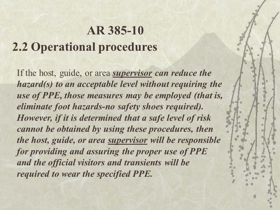 2.2 Operational procedures