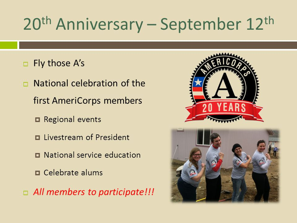 20th Anniversary – September 12th