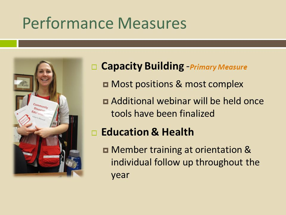 Performance Measures Capacity Building -Primary Measure