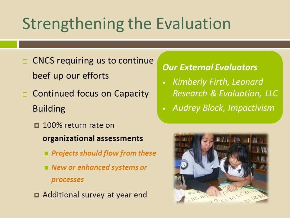 Strengthening the Evaluation