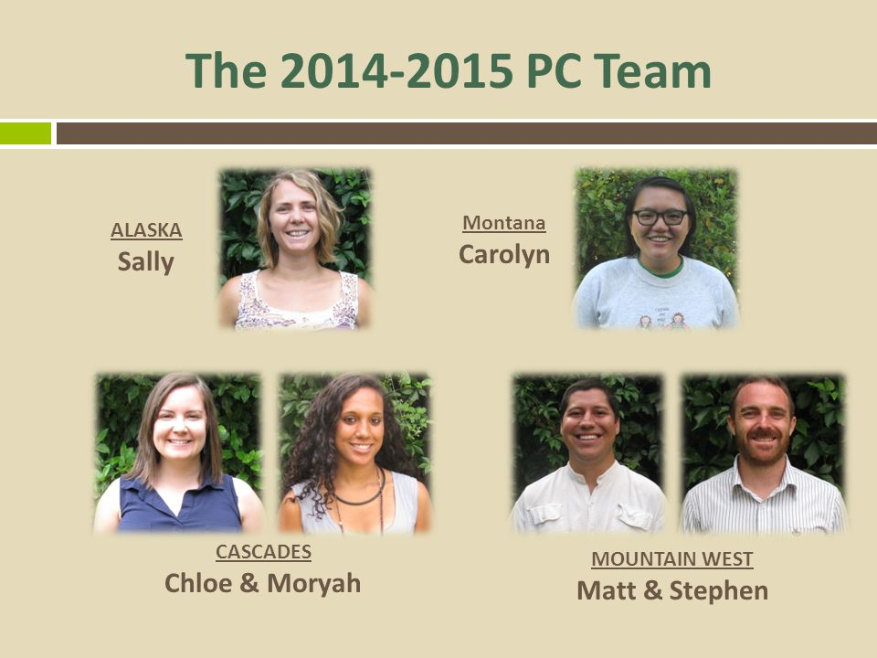 The 2014-2015 PC Team Carolyn Sally Chloe & Moryah Matt & Stephen