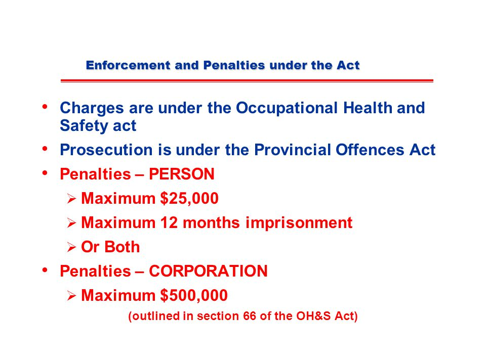 Enforcement and Penalties under the Act