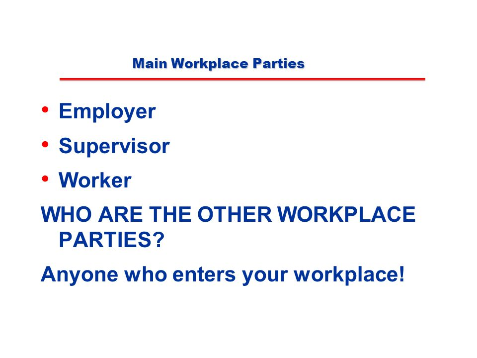 Main Workplace Parties