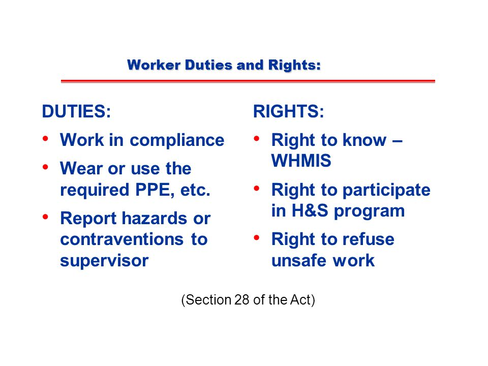 Worker Duties and Rights: