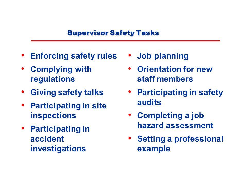 Supervisor Safety Tasks