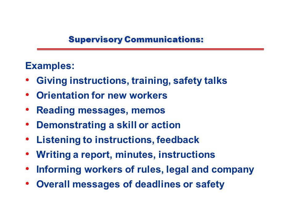 Supervisory Communications: