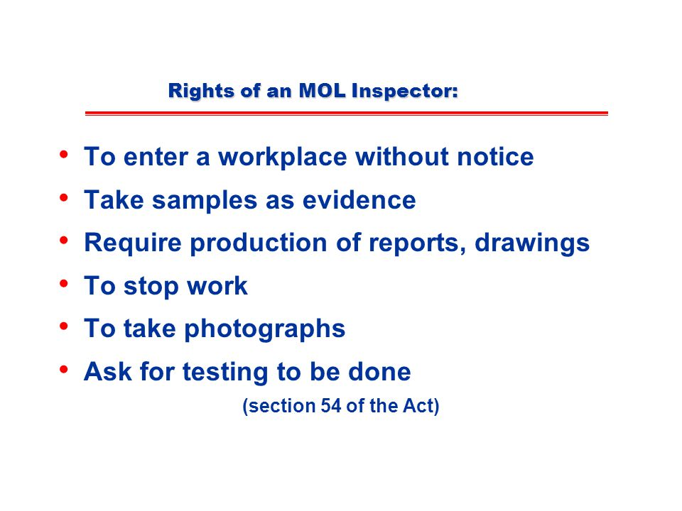 Rights of an MOL Inspector: