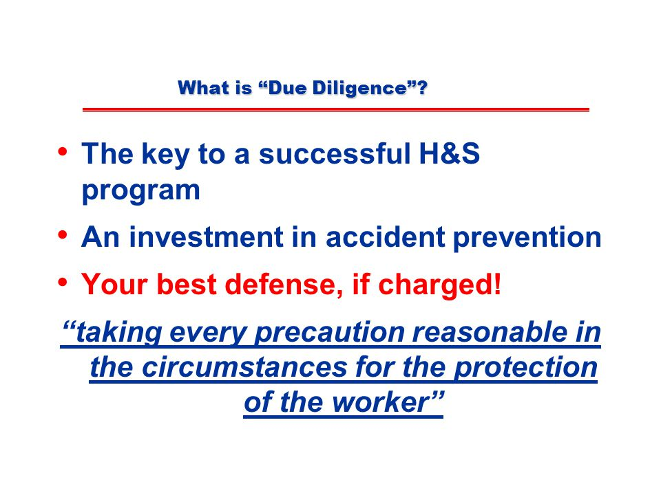 What is Due Diligence