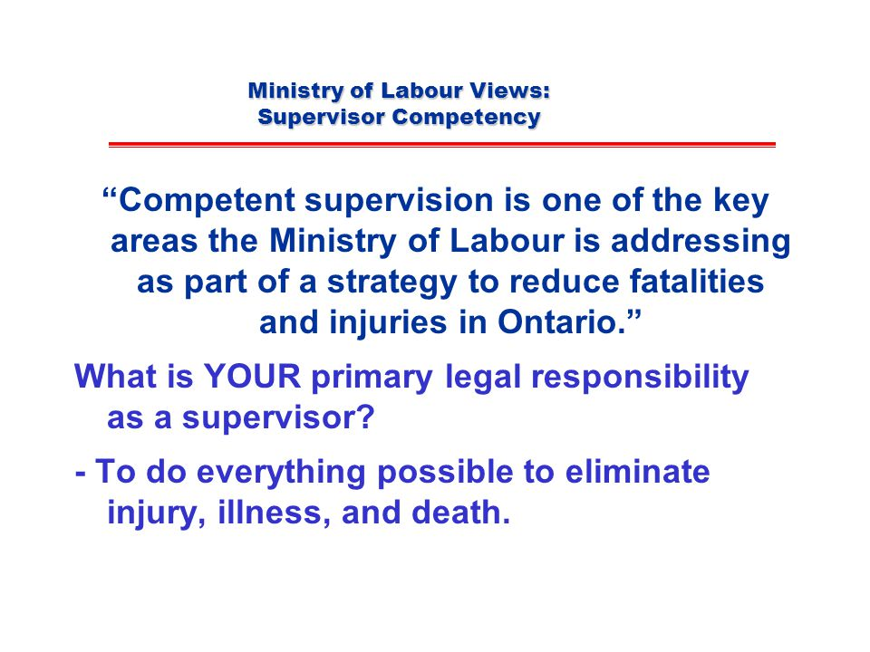 Ministry of Labour Views: Supervisor Competency