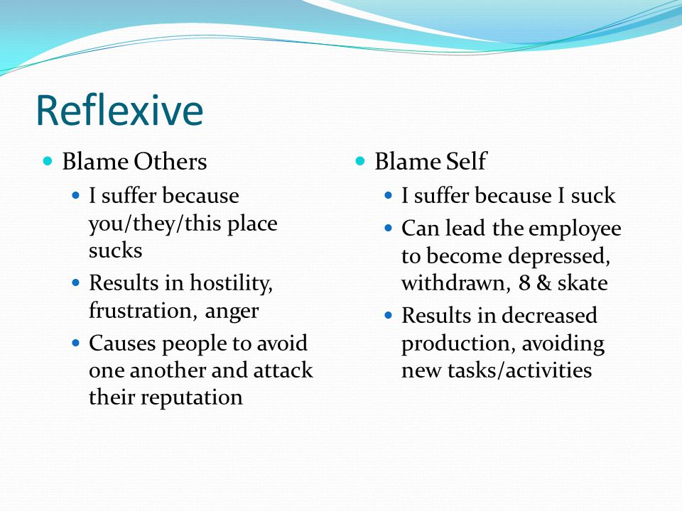 Reflexive Blame Others Blame Self