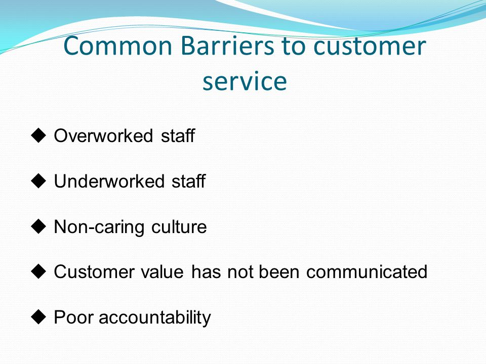 Common Barriers to customer service