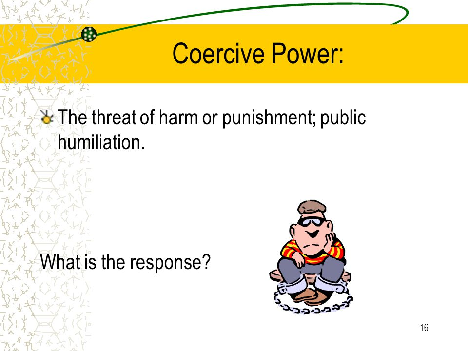 Coercive Power: The threat of harm or punishment; public humiliation.
