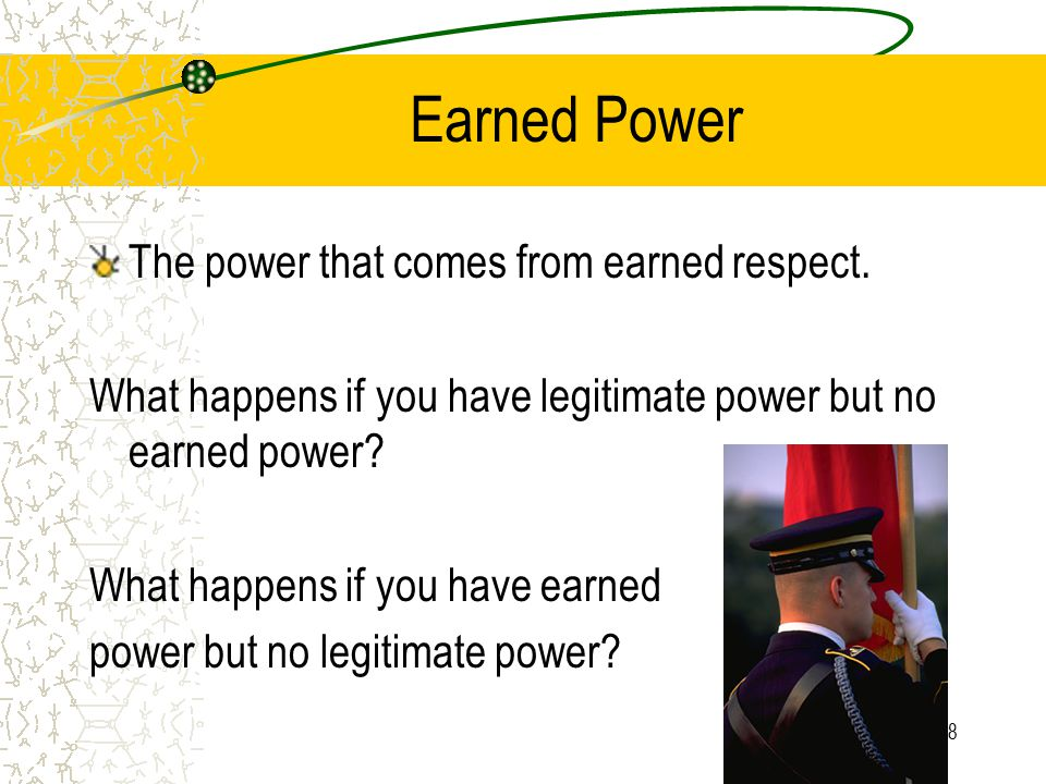 Earned Power The power that comes from earned respect.