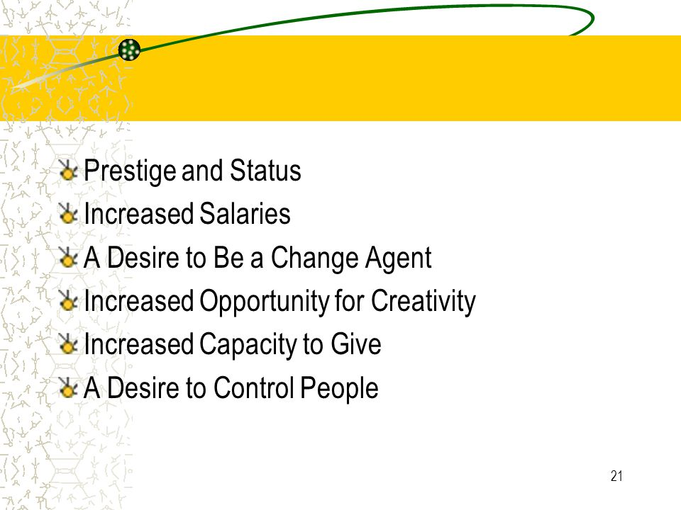 Prestige and Status Increased Salaries. A Desire to Be a Change Agent. Increased Opportunity for Creativity.