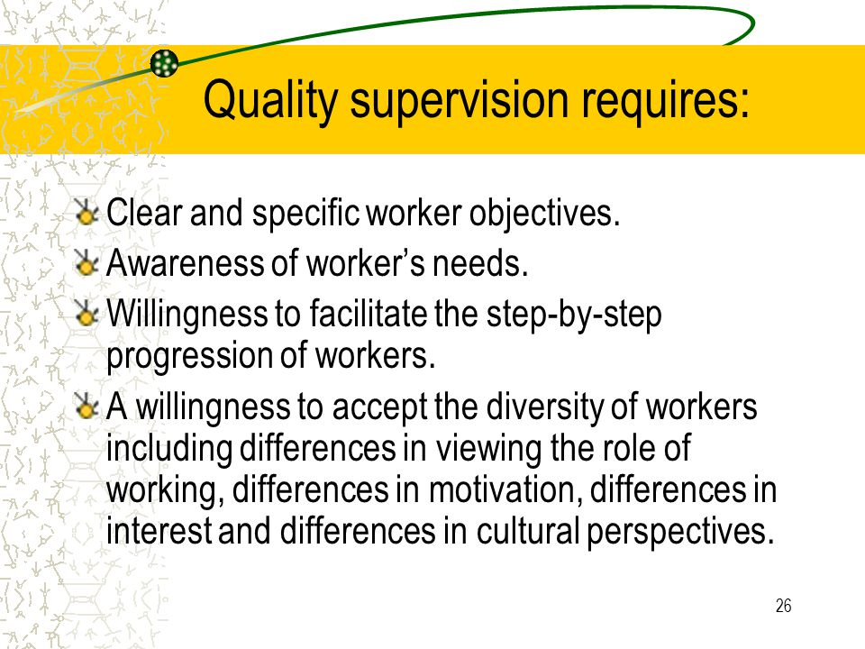Quality supervision requires: