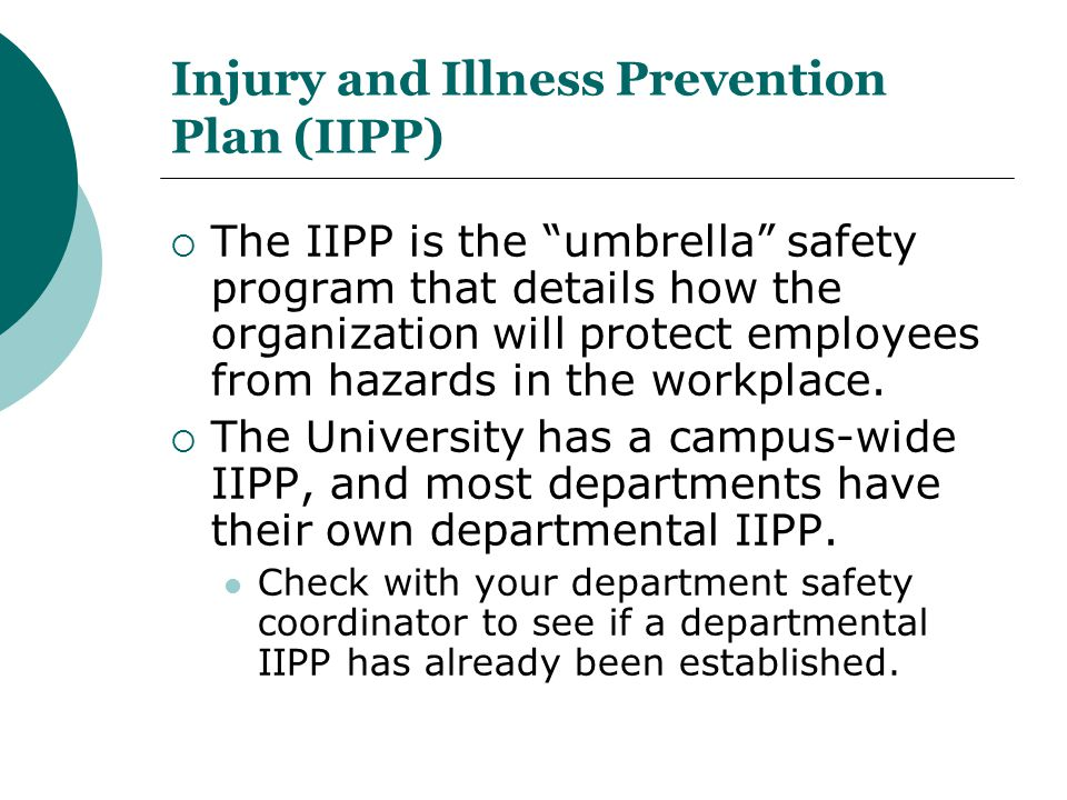 Injury and Illness Prevention Plan (IIPP)