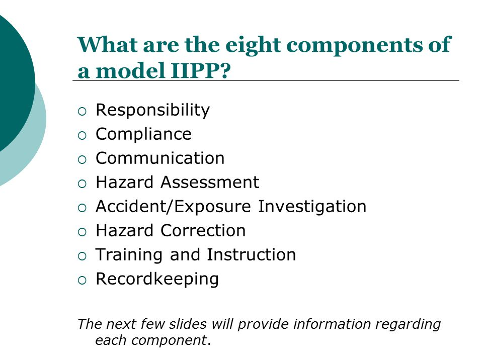 What are the eight components of a model IIPP