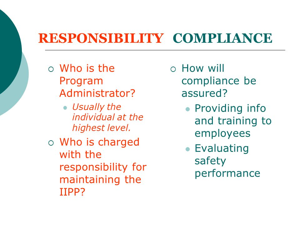 RESPONSIBILITY COMPLIANCE