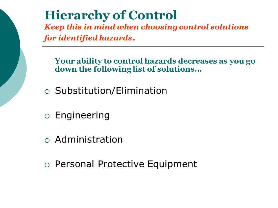 Hierarchy of Control Keep this in mind when choosing control solutions for identified hazards.