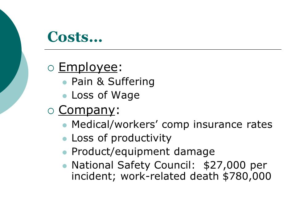 Costs… Employee: Company: Pain & Suffering Loss of Wage