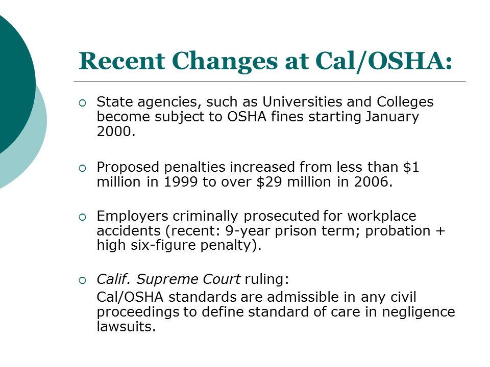 Recent Changes at Cal/OSHA: