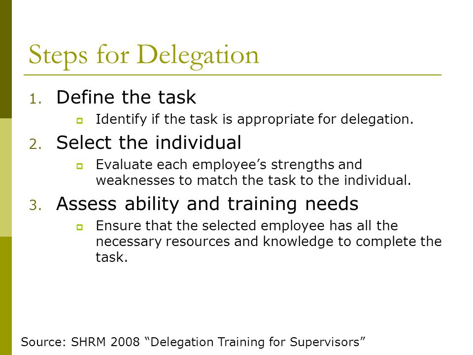 Steps for Delegation Define the task Select the individual