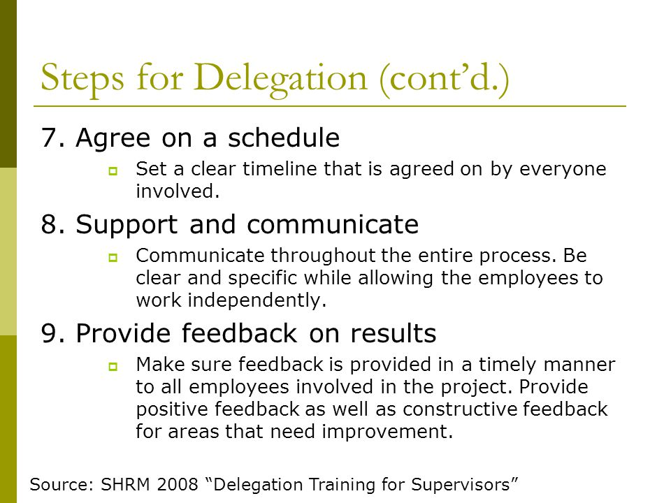 Steps for Delegation (cont'd.)