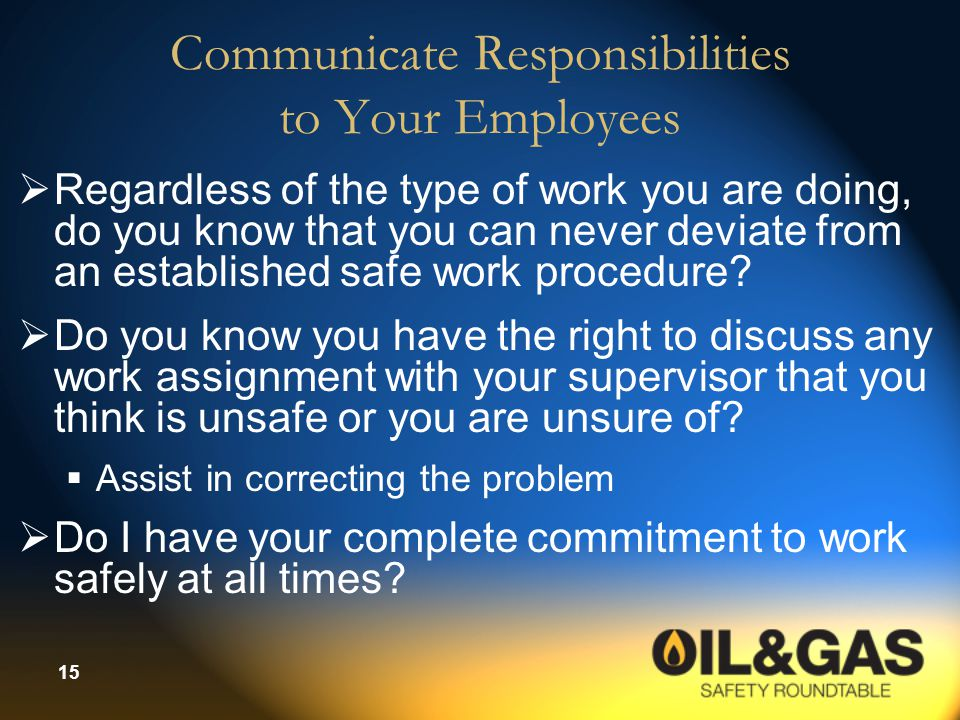 Communicate Responsibilities to Your Employees
