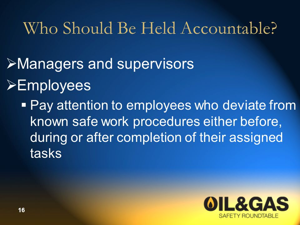 Who Should Be Held Accountable