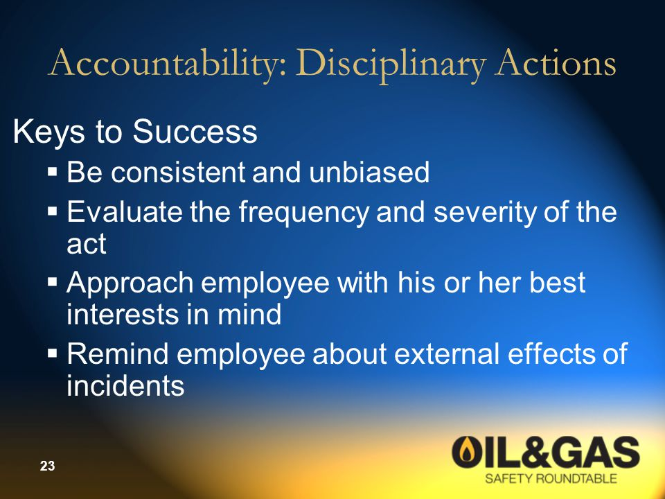 Accountability: Disciplinary Actions