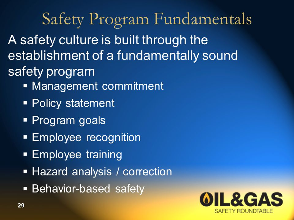Safety Program Fundamentals