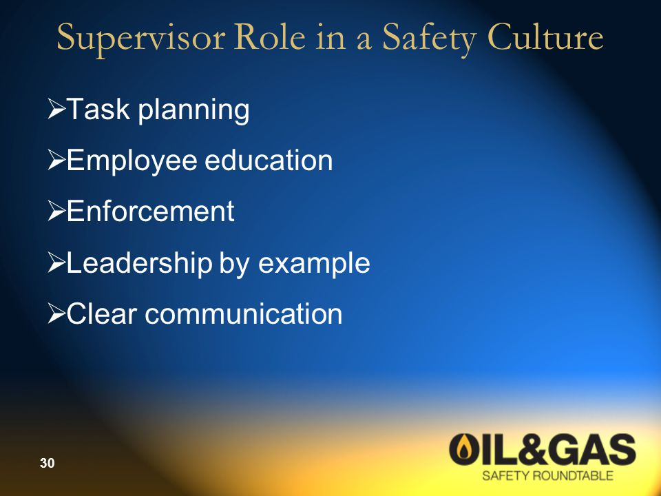 Supervisor Role in a Safety Culture