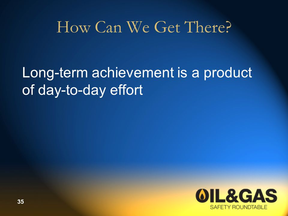 How Can We Get There Long-term achievement is a product of day-to-day effort