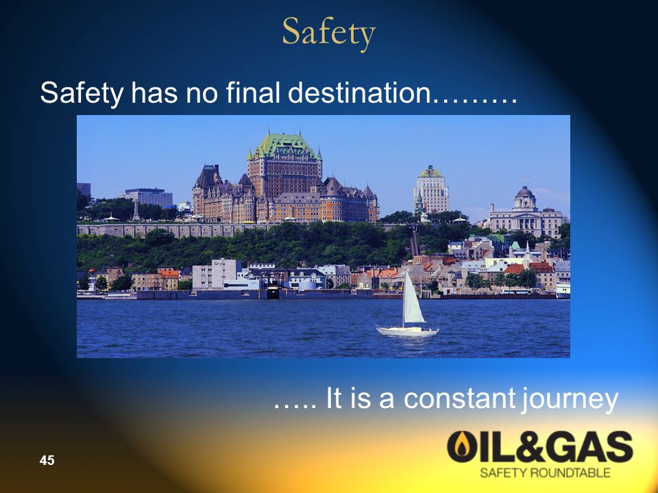 Safety Safety has no final destination……… ….. It is a constant journey