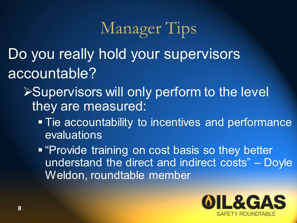 Manager Tips Do you really hold your supervisors accountable