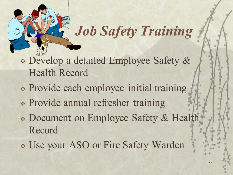 Job Safety Training Develop a detailed Employee Safety & Health Record