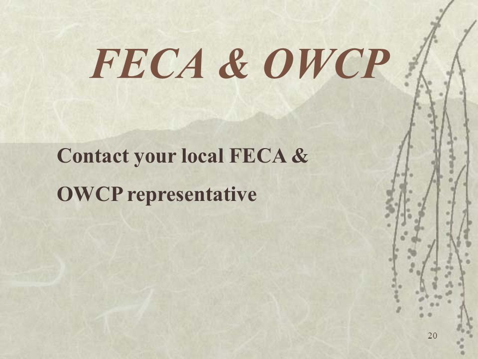 FECA & OWCP Contact your local FECA & OWCP representative