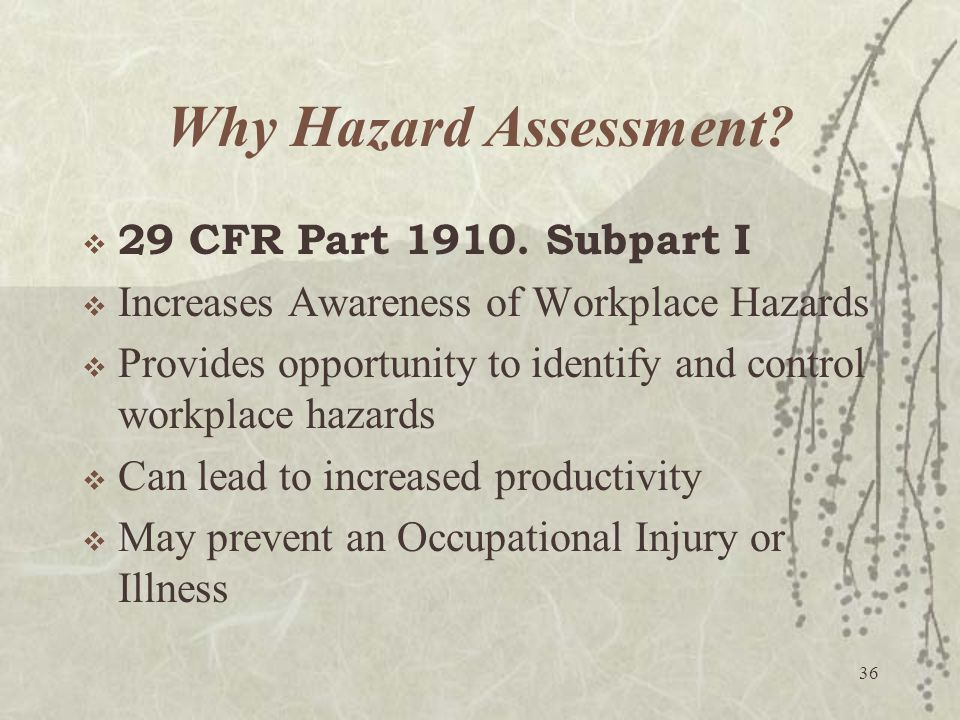 Why Hazard Assessment 29 CFR Part 1910. Subpart I