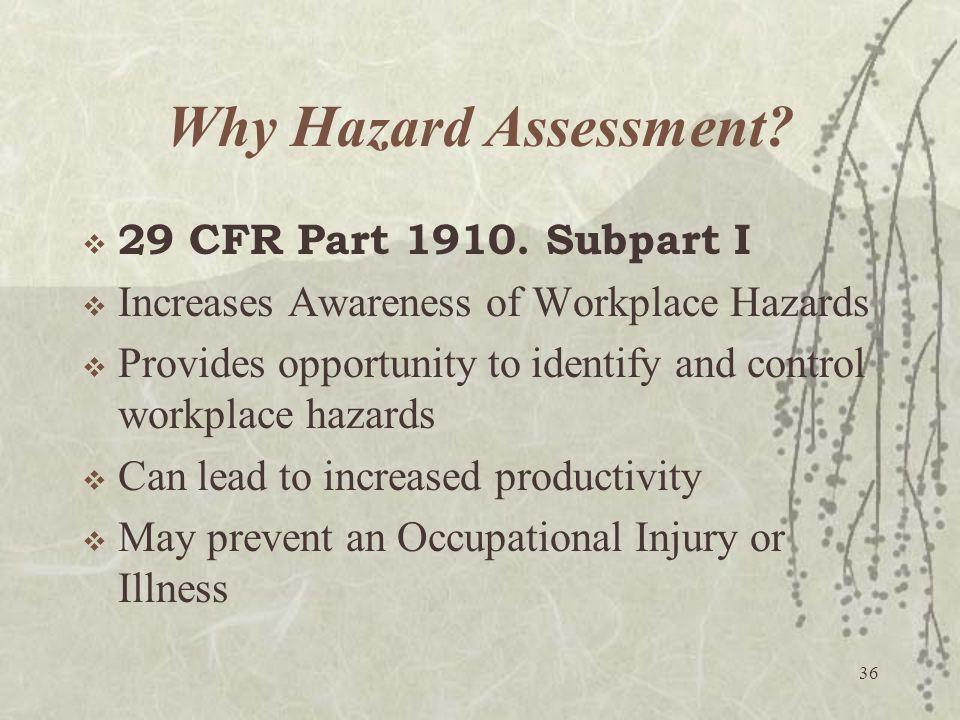 Why Hazard Assessment 29 CFR Part 1910. Subpart I